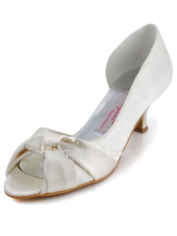 Elegantpark Ivory Satin Bowknot Low Heel Wedding/Evening Shoes (1201D)