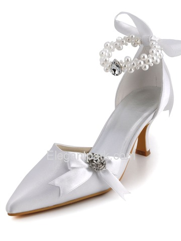 Elegantpark Satin Pointy Toe Spool Heel Wedding Bridal & Evening Shoe (A0509)