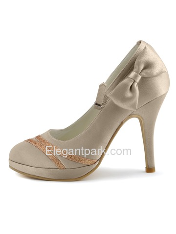 Elegantpark Champagne Almond Toe Stiletto Heel Satin And Glitter PU Evening Party Shoes (A0789-PF)