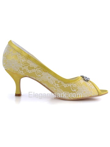 217114c4f2 Elegantpark Yellow Peep Toe Stiletto Heel Satin Lace Rhinestones ...