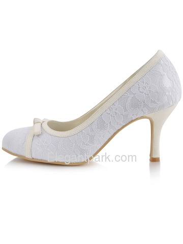 Elegantpark Modern Satin Lace Stiletto Heel Bridal Wedding Shoes (EL-029)