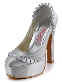 Elegantpark Silver Platforms Satin Stiletto Heel Evening & Party Shoes