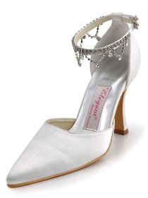 Elegantpark Pointy Toes Strappy Satin Bridal Shoes with More Color Available