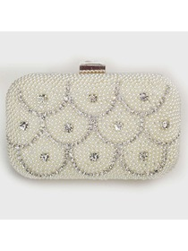 Light Ivory Pearl and Crystal Evening Prom Wedding Party Handbag