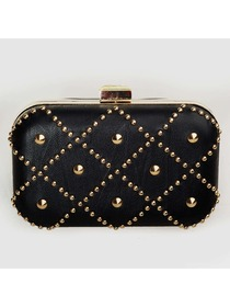 Black PU Rivet Graduation Evening Party Clutch Metalllic Bag