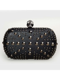 Black Skull PU and Rivet Punk Cocktial Party Sexy Handbag