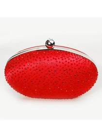 Elegant Red Round Rhinestone Satin Evening Party Handbag