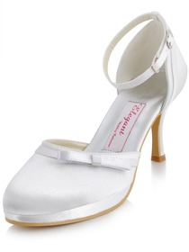 Elegantpark White Almond Toe Bow Platform Stiletto Heel Satin Wedding Party Shoes
