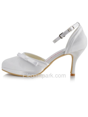 Elegantpark White Almond Toe Bow Platform Stiletto Heel Satin Wedding Party Shoes (R001-PF)