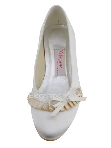 Elegantpark Ivory Comfortable Round Toe Flat Heel Bow Ruffles Satin Wedding Bridal Shoes (EP41057)
