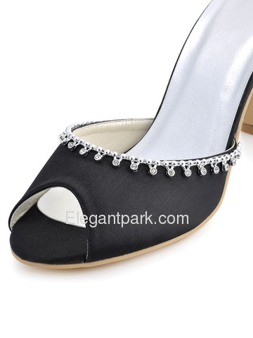 Elegantpark Black Peep Toe Stiletto Heel Satin Slippers with Rhinestones (EP2064)