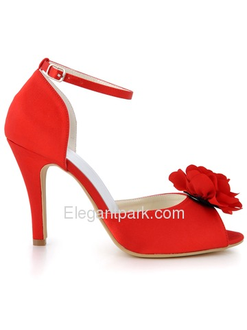 Elegant Red Peep Toes Stiletto Heel Flower Satin Wedding Party Buckle Shoes (EP2067)