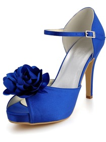 Elegant Blue Peep Toe Stiletto Heel Platform Satin Flowers Wedding Party Shoes