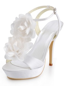 Elegantpark White Open Toe Stiletto Heel Flower Platforms Satin Wedding Party Buckle Sandals