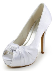 Elegantpark White Peep Toe Stiletto Heel Knot Pleats Platforms Satin Wedding Evening Party Shoes
