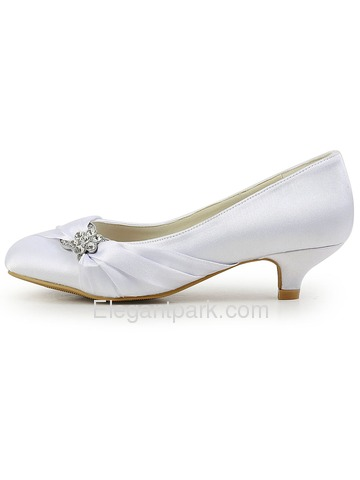 Elegantpark Almond Toe Low Heel Rhinestones Satin Wedding Evening Party Shoes (EP2006L)