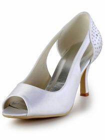 Elegantpark White Peep Toe Pumps Rhinestones Stiletto Heel Satin Wedding Party Shoes