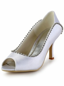 Elegantpark Modern White Peep Toe Rhinestones Stiletto Heel Satin Bridal Wedding Party Pumps