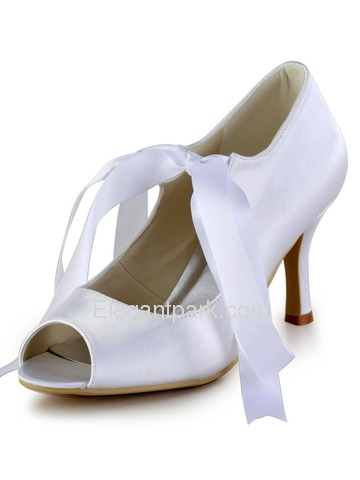 Elegantpark Classic Peep Toe Lace Up Stiletto Heel Satin Wedding Party Shoes (EP2078)