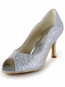 Elegantpark Sexy Silver Peep Toe Sequin Pumps Stiletto Heel Wedding Party Shoes
