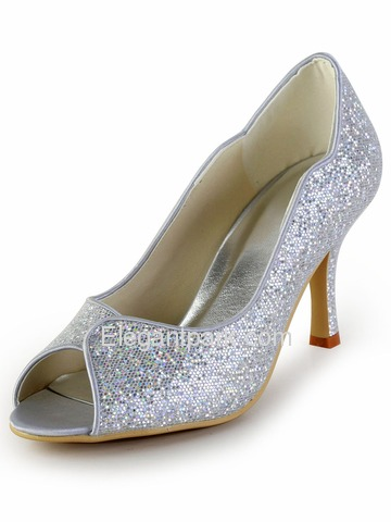 Elegantpark Sexy Silver Peep Toe Sequin Pumps Stiletto Heel Wedding Party Shoes (EP2079)
