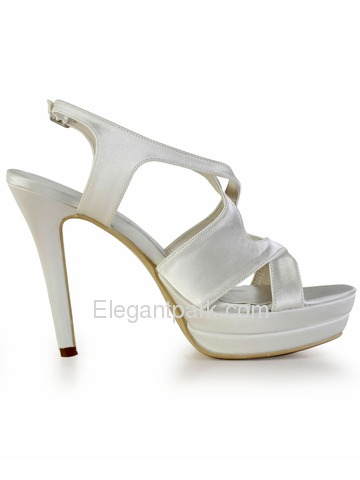 Elegantpark Ivory Open Toe Cross Straps Stiletto Heel Platform Evening Wedding Party Sandals (EP2080-2PF)