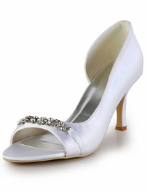 Elegant White Open Toe Rhinestones Stiletto Heel Satin Wedding Party Shoes