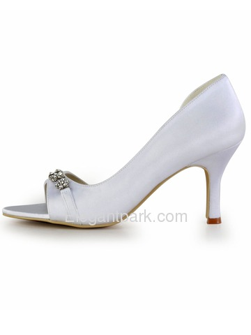 Elegant White Open Toe Rhinestones Stiletto Heel Satin Wedding Party Shoes (EP2083)
