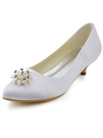 Elegant Almond Toe Low Heel Rhinestone Pearls Satin Wedding Evening Party Shoes