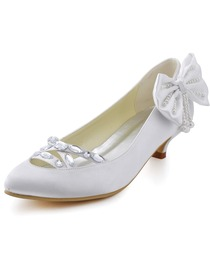 Elegantpark White Almond Toe Crystal Pearl Bow Low Heel Satin Bridal Party Pumps