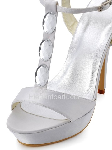 Elegantpark Ivory Open Toe T-Strap Stiletto Heel Platform Crystals Satin Evening Wedding Party Sandals (EP2091)