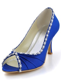 Elegantpark Royal Blue Peep Toe Rhinestone Pleat Satin Evening Party Prom Shoes