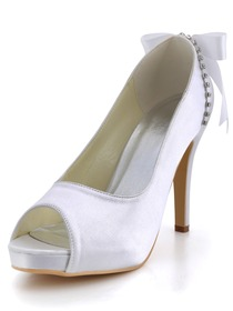 Elegantpark White Peep Toe Platfrom Rhinestone Ribbon Satin Wedding Bridal Pumps