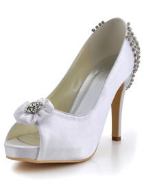 Elegantpark White Peep Toe Flower Rhinestone Platform Stiletto Heel Satin Wedding Prom Shoes