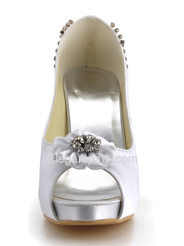 Elegantpark White Peep Toe Flower Rhinestone Platform Stiletto Heel Satin Wedding Prom Shoes (EP2096-IP)