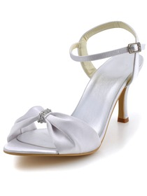 Elegantpark White Open Toe Rhinestone Slingback Spool Heel Satin Wedding Bridal Sandals