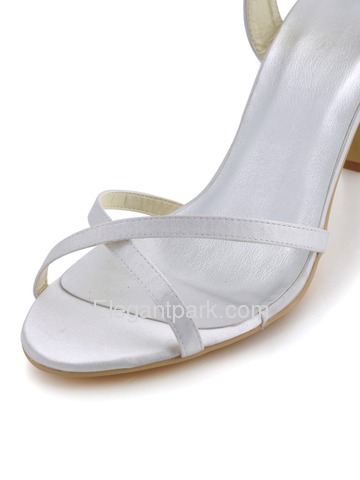 Elegantpark White Open Toe Cross Straps Spool Heel Satin Wedding Bridal Sandals (EP2105)