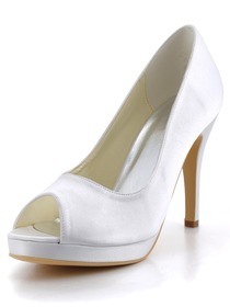 Elegant White Peep Toe Stiletto Heel Platform Satin Wedding Bridal Pumps