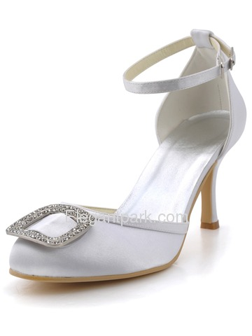 Elegantpark White Almond Toe Rhinestone Buckle Stiletto Heel Satin Wedding Evening Party Shoes (EP2100)