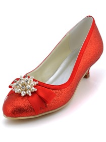 Elegant Red Almond Toe Pearl Bow Low Heel Glitter PU Wedding Party Shoes