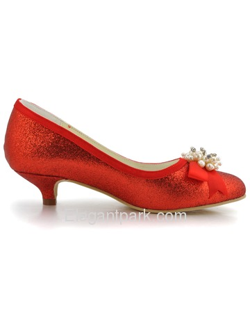 Elegant Red Almond Toe Pearl Bow Low Heel Glitter PU Wedding Party Shoes (EP2101)
