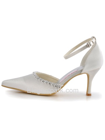 Elegant Satin Pointy Toe Spool Heel Evening Shoe (A825)