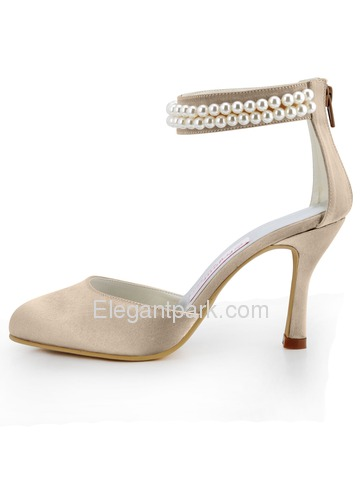 Elegantpark Champagne Satin Closed Toe Stiletto Heel Bridal Evening Shoes (AJ3065)