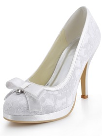 Elegantpark White Platforms Satin and Lace Evening & Party Shoes
