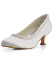 Elegantpark Ivory Almond Toe Chunky Heel Satin Beading Bridal Evening Party Shoes