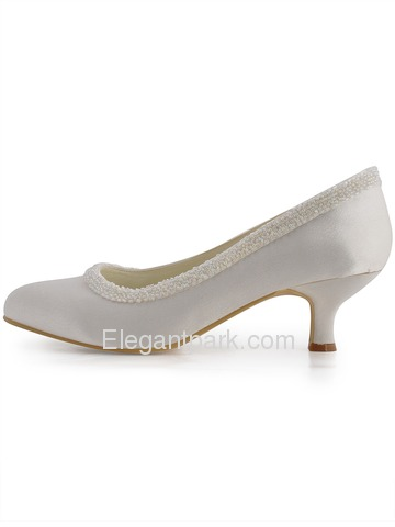 Elegantpark Ivory Almond Toe Chunky Heel Satin Beading Bridal Evening Party Shoes (EL-005CC)