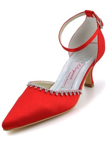 Elegantpark Red Pointy Toes Stiletto Heel Satin Wedding Bridal Shoes