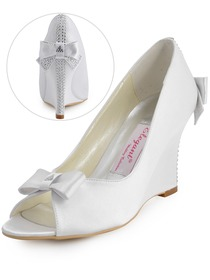 Elegantpark White Peep Toe Bow Rhinestone Satin Wedges Wedding Bridal Shoes