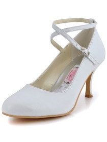 Elegantpark Pretty White Almond Toe Cross Ankle Buckle PU Evening Wedding Party Shoes
