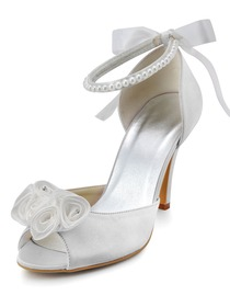 Elegantpark White Peep Toe Rhinestone Flowers Buckle Satin Wedding Evening Party Shoes